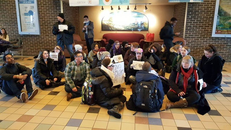GVL / Courtesy - Jason BlanksStudents gather inside the Kirkhof Center on Tuesday, Jan. 31, 2017 in protest of President Trump's immigration ban.