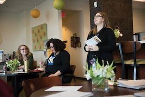 GVL / Luke Holmes - Women's Center Director Jessica Jennrich (right) speaks to faculty inside of the Women's Center on Tuesday, Feb. 16, 2016.