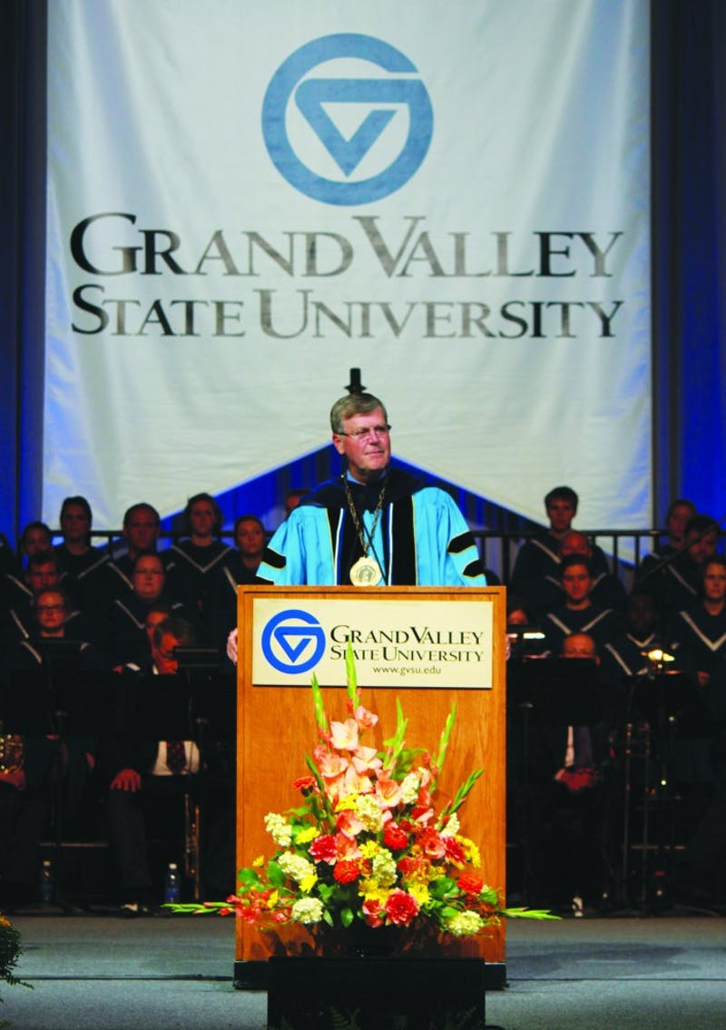 GVL / Kaitlyn Bowman President T. Haas speaking at convocation.