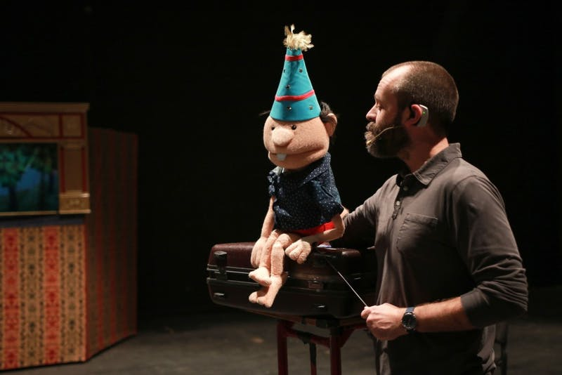 GVL / Sara Carte - Local puppeteer of Grand Rapids, Kevin Kammeraad, performs with his puppet Jacob during the puppet show workshop in the Louis Armstrong Theatre in the Perfroming Arts Center on Friday, Feb. 19, 2016.