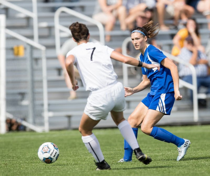 GVL/Kevin Sielaff - Clare Carlson (7) moves the ball up field. The Lakers defeat the Panthers of Ohio Dominican with a final score of 4-0 on Sunday, Sept. 18, 2016 in Allendale.