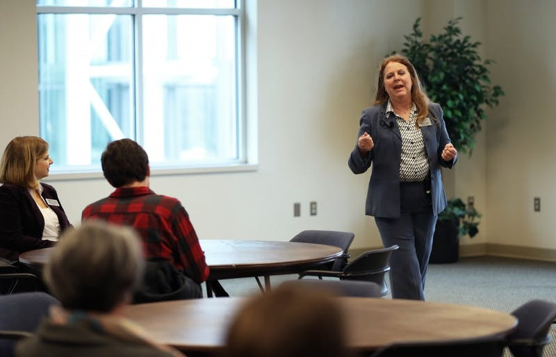 GVL/Kevin Sielaff - Suzeanne Benet presents during Grand Valley's annual Her Story series on Wednesday, Jan. 18, 2017.