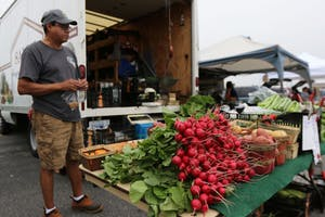 GVL / Luke Holmes - Marty Rodriguez sells fresh produce at the Farmers Market in Parking Lot G on Wednesday, Sept. 7, 2016.