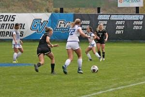 GVSU Girl's Soccer Team facing Purdue Northwest in the GLIAC Tournament on October 30th, 2018. GVL / Emily Modloff