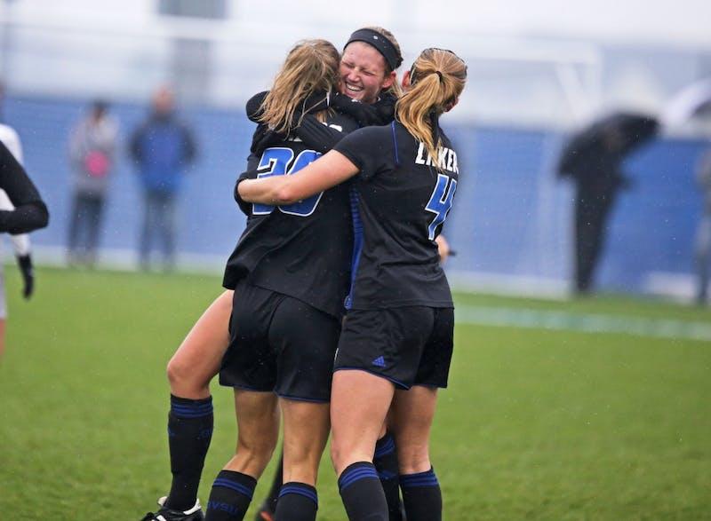 Tara Lierman celebrates Gabriella Mencotti's goal against Ohio Dominican on Sunday November 12, 2017. GVL / Archive