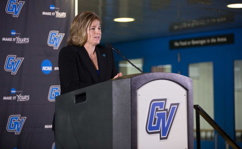 GVL / Kevin Sielaff – Keri Becker is named the sixth Grand Valley State Director of Athletics on Thursday, April 7, 2016 inside of the Fieldhouse Arena.
