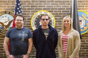 GVL / Sara Carte - Student Veterans Orgainzation members, (left to right) Bryan Wood, Matthew Oudbier, and Kayla Clarke meet in the Veterans Lounge in the Kirkhof Center on Monday, Mar. 14, 2016.