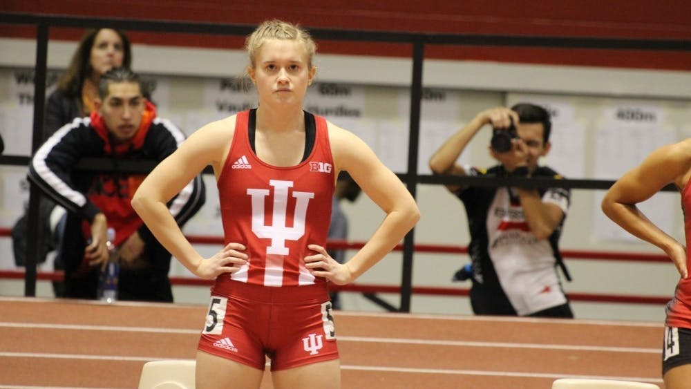 Then-sophomore Megan Grabowski catches her breath before racing in the 60-meter dash finals at the 2018 Hoosier Hills meet. Grabowski was namedas the recipient of the Anita Aldrich Leadership Award on Monday.