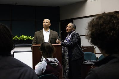 Bloomington residents William Hosea and Stephanie Power-Carter answer concerned citizens' questions at the State of the Black Community on Feb. 12 at City Hall. The two were keynote speakers at the presentation, covering topics such as employment, housing and education in relation to the black community in Bloomington.