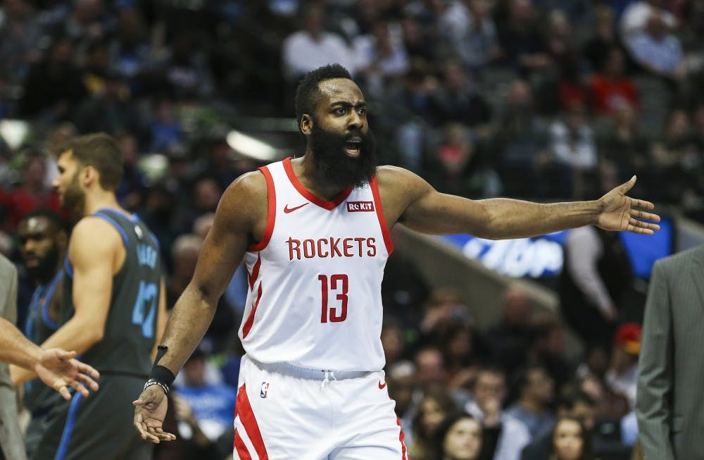 0940b416927 Houston Rockets guard James Harden reacts to an official s call during the  first half against the Dallas Mavericks on March 10 at the American  Airlines ...