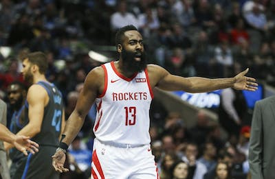 Houston Rockets guard James Harden reacts to an official's call during the first half against the Dallas Mavericks on March 10 at the American Airlines Center in Dallas.