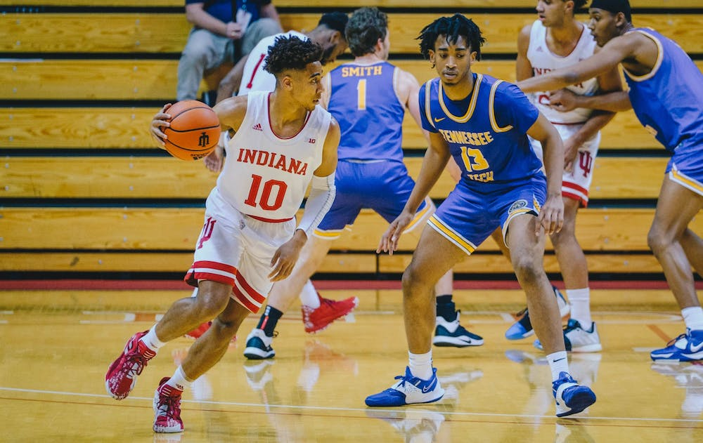 <p>Junior guard Rob Phinisee rushes past Tennessee Tech to score Nov. 25 at Simon Skjodt Assembly Hall. IU led Tennessee Tech 48-19 at halftime.</p>