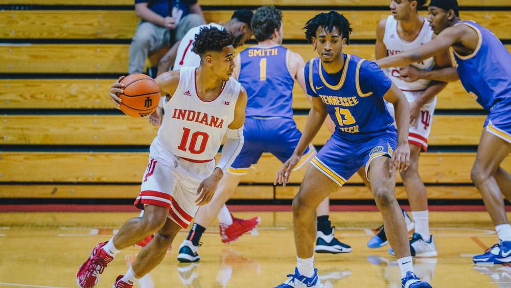 Junior guard Rob Phinisee rushes past Tennessee Tech to score Nov. 25 at Simon Skjodt Assembly Hall. IU led Tennessee Tech 48-19 at halftime.