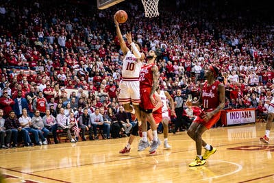 Sophomore Rob Phiniess scores against Nebraska on Dec. 13 in Simon Skjodt Assembly Hall. IU won 96-90.