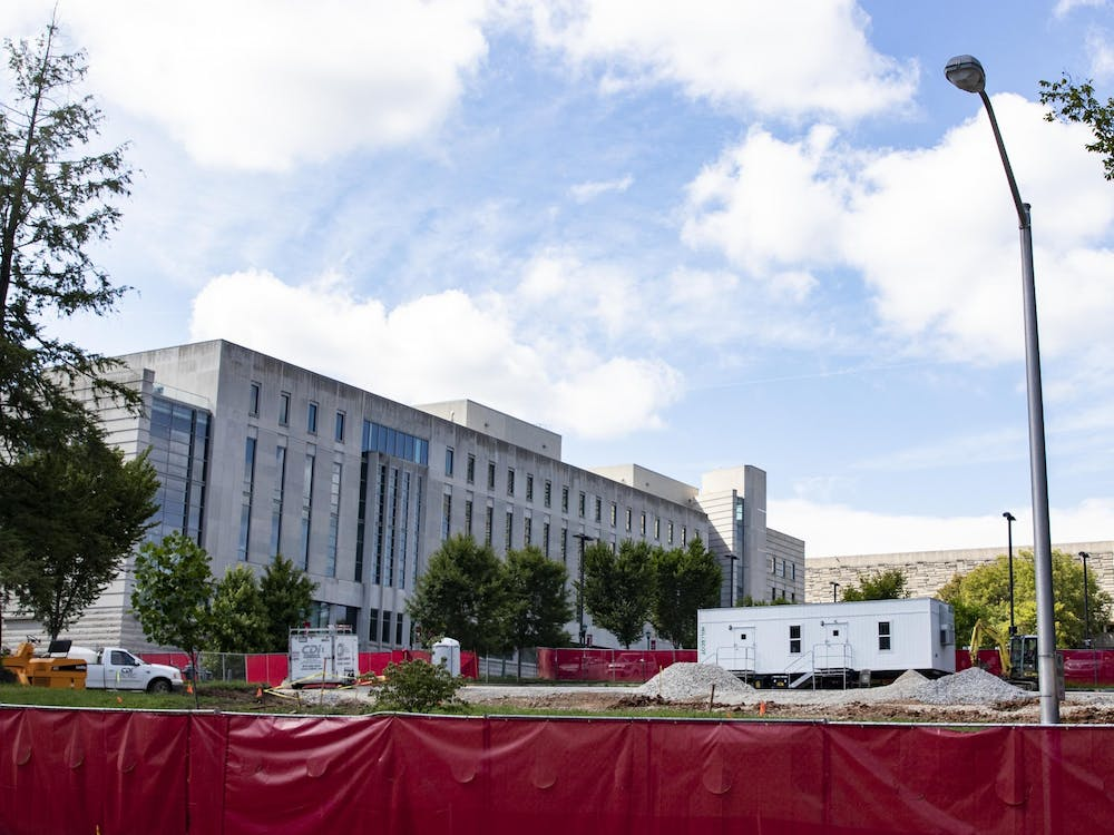 A construction site sits in front of the Global and International Studies building Aug. 11 at North Jordan Avenue and Seventh Street. IU is constructing a new building for the Eskenazi School of Art, Architecture and Design.