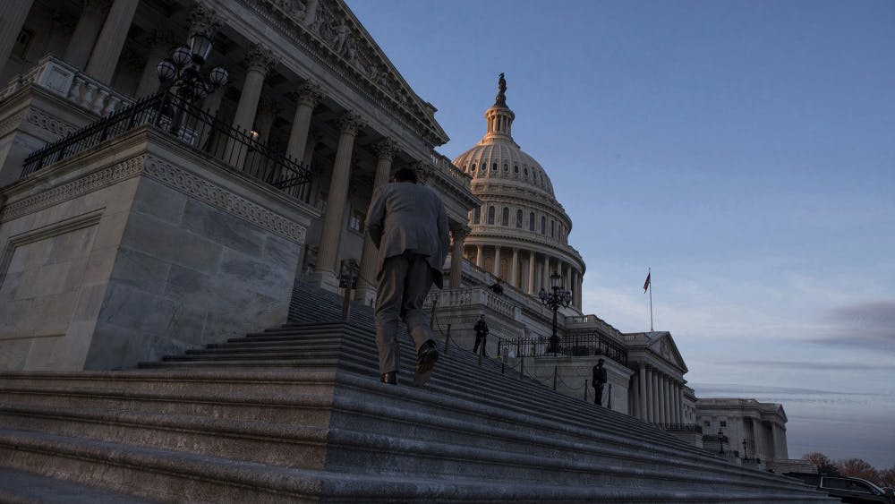 The U.S. Capitol Building at dusk on Jan. 20, 2018, in Washington, D.C. According to a government report released Tuesday, the nation's federal debt is on pace to reach unsustainable levels within 30 years.