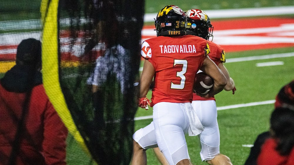 Maryland freshman Taulia Tagovailoa runs with the ball Oct. 30 in College Park, Maryland. Tagovailoa threw for 394 yards and three touchdowns in Maryland's 45-44 overtime victory over Minnesota.