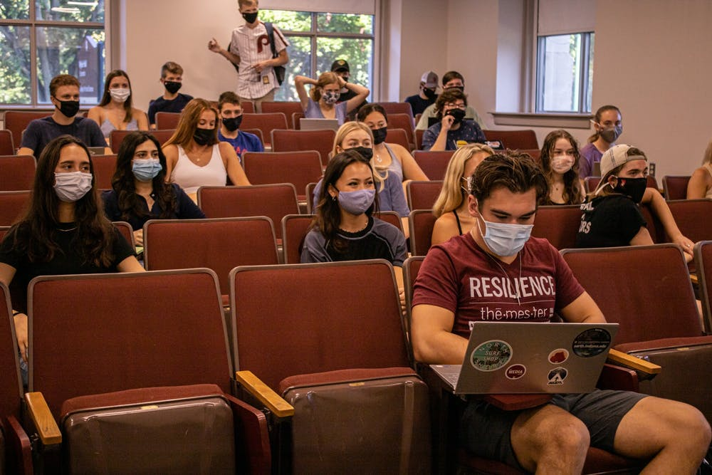 <p>Students wait for the start of their class on Aug. 23, 2021, in Wylie Hall. </p>