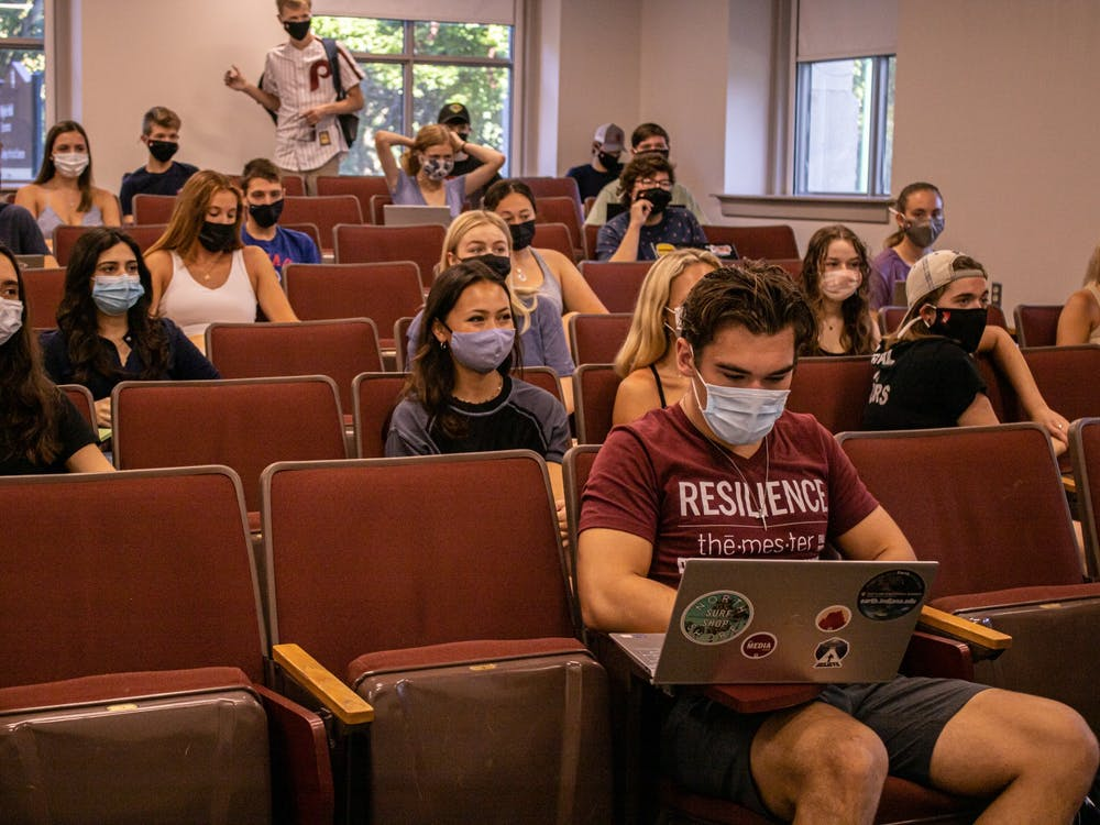 Students wait for the start of their class on Aug. 23, 2021, in Wylie Hall.