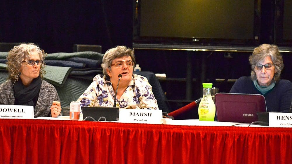 Council President Moira Marsh speaks during the Bloomington Faculty Council meeting Oct. 23 in the Radio-Television Building. The council is made up of elected faculty members that oversee IU.