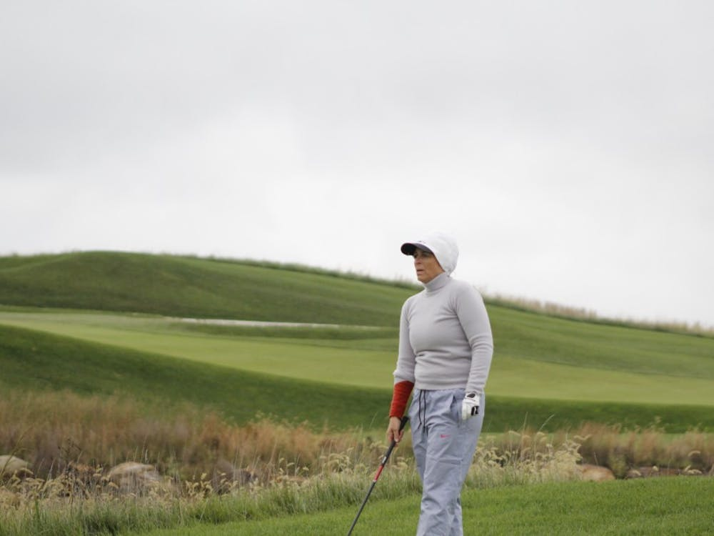 Senior professional golfer Jackie Gallagher-Smith looks on at hole 16 before her drive off the tees at the Pete Dye Course in French Lick, Indiana.