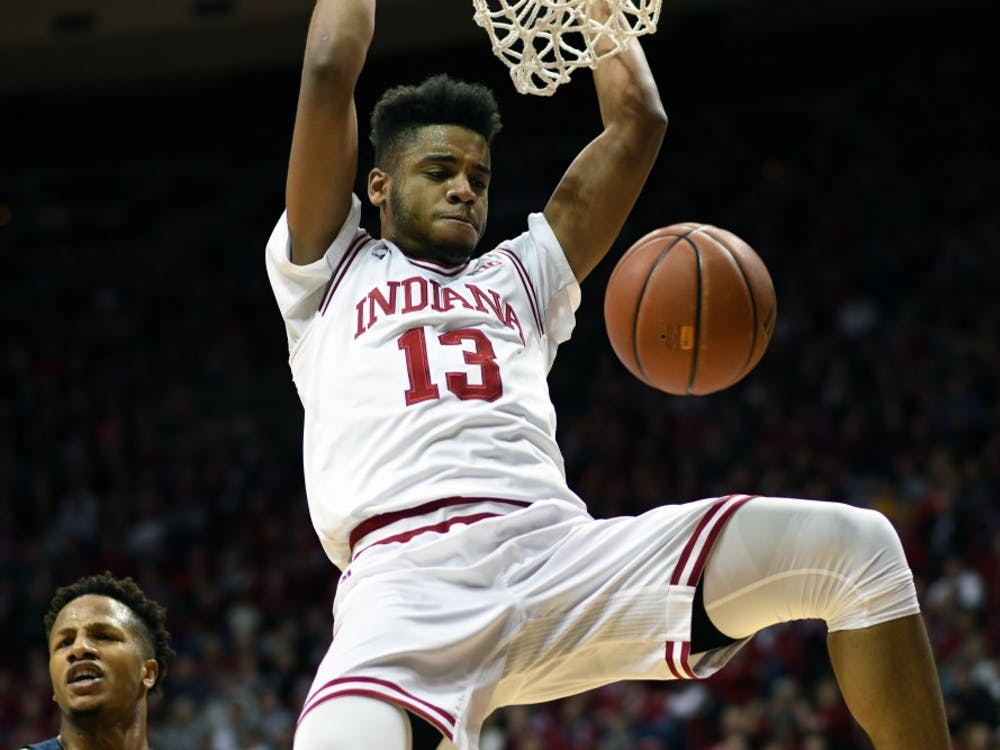 Junior forward Juwan Morgan dunks the ball against Penn State on Jan. 9 in Simon Skjodt Assembly Hall. Morgan had 21 points and 11 rebounds in IU's 74-70 win against Penn State.