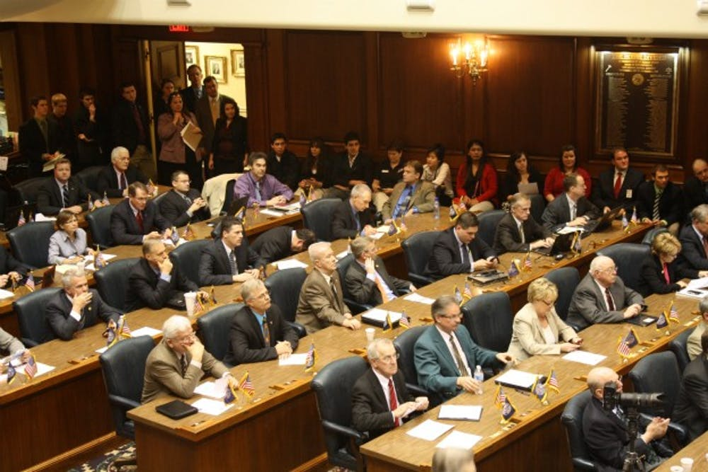 <p>Republicans sit while in session March 14, 2011, at the Indiana Statehouse. The Indiana General Assembly passed a COVID-19 civil immunity bill Monday.</p>