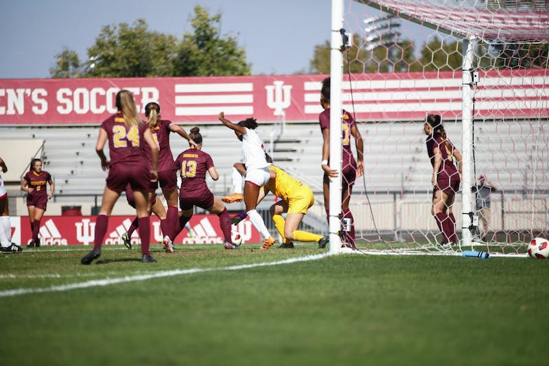 Senior Mykayla Brown takes control of the ball and is able to score Oct. 7 at Bill Armstrong Stadium. Brown scored two goals, including the game-winning goal, against the Golden Gophers.