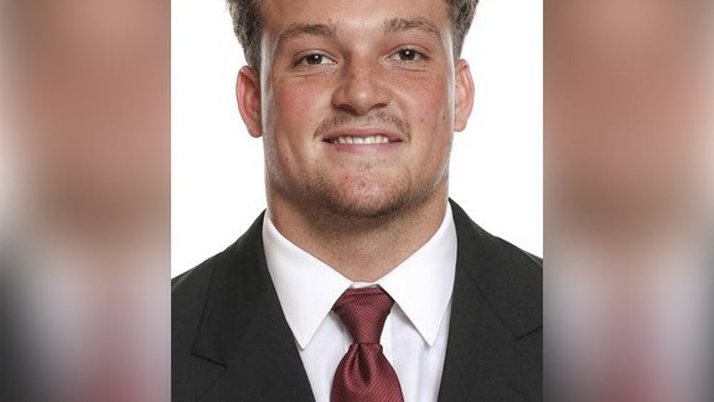 Redshirt sophomore tight end Peyton Hendershot poses for a photo. Hendershot was arrested Feb. 22 on multiple charges including domestic battery.