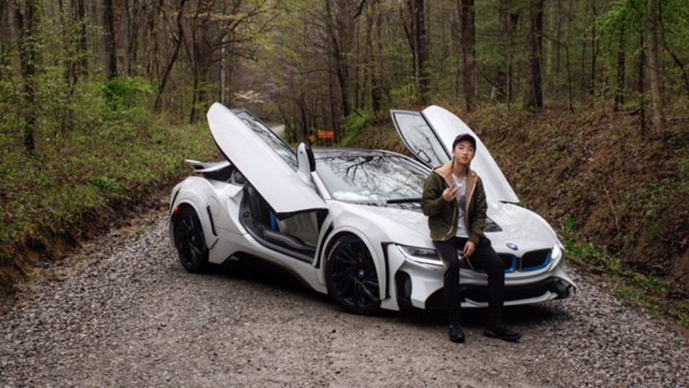 IU sophomore Longjie Lin drives a BMW i8 and has done modifications to it.