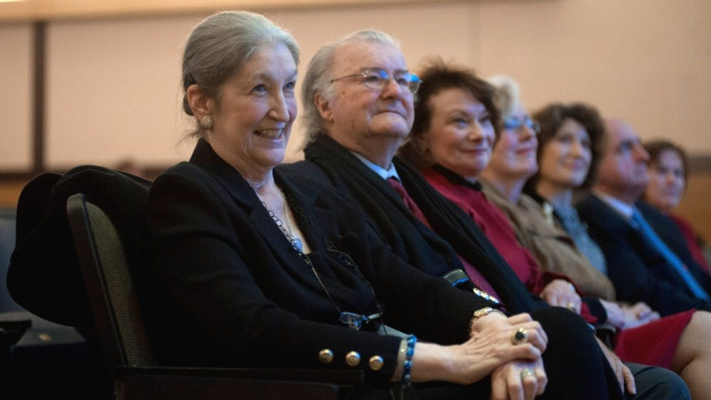 Jane Fortune sits at a film screening in 2013 at the IU-Purdue University Indianapolis Herron School of Art and Design. Fortune's estate has given the Sidney and Lois Eskenazi Museum of Art a $4 million gift to fund research on female artists.