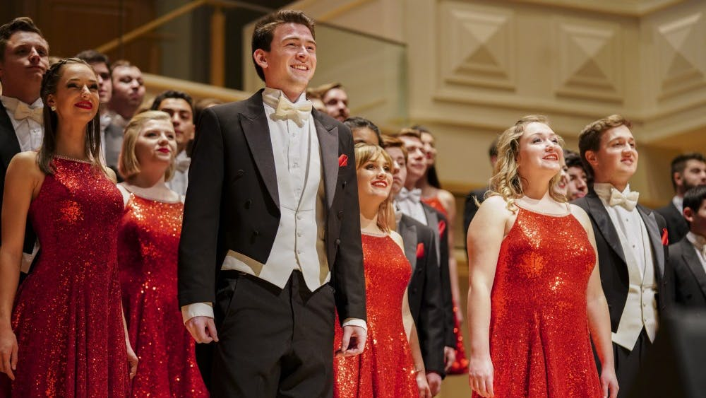 "The Singing Hoosiers open a show in 2018 with the ""Indiana Opener,"" ""Let the River Run"" and ""I've Got a Robe."" IU's Singing Hoosiers' 69th annual spring concert, ""Go West!"" will be at 8 p.m. April 27 at the Musical Arts Center."