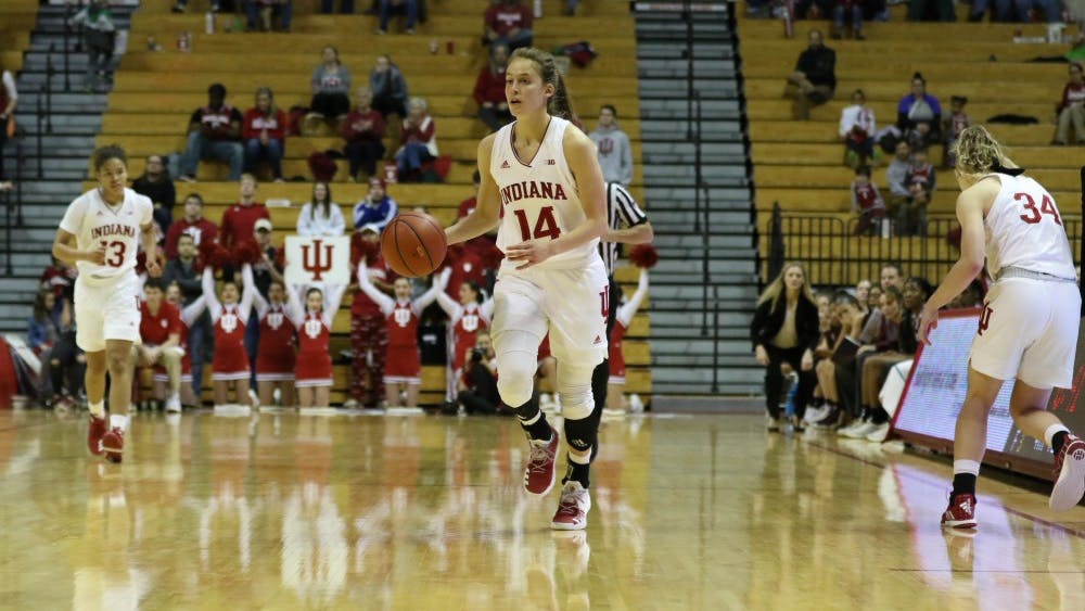 Junior guard Ali Patberg moves the ball down the court as the Hoosiers lead in the second half against Missouri State on Dec. 9 at Simon Skjodt Assembly Hall. Patberg earned a double-double for the game, scoring 16 points and putting up 13 assists.
