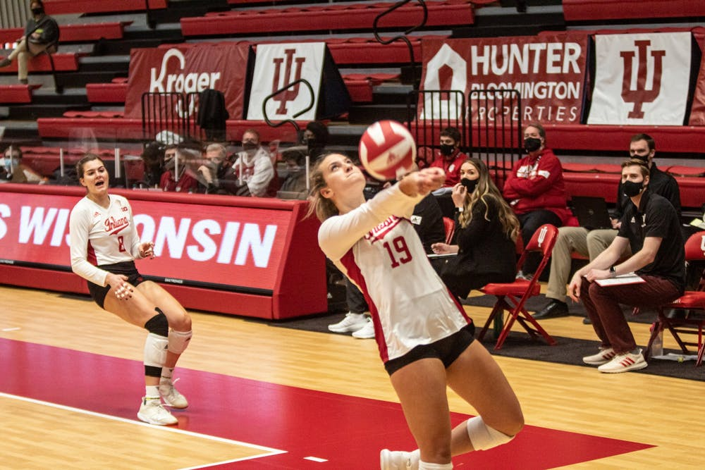 <p>Sophomore outside hitter Ashley Zulauf hits the ball against Wisconsin on Saturday. The Hoosiers play No. 8 Penn State on Friday in University Park, Pennsylvania. </p>