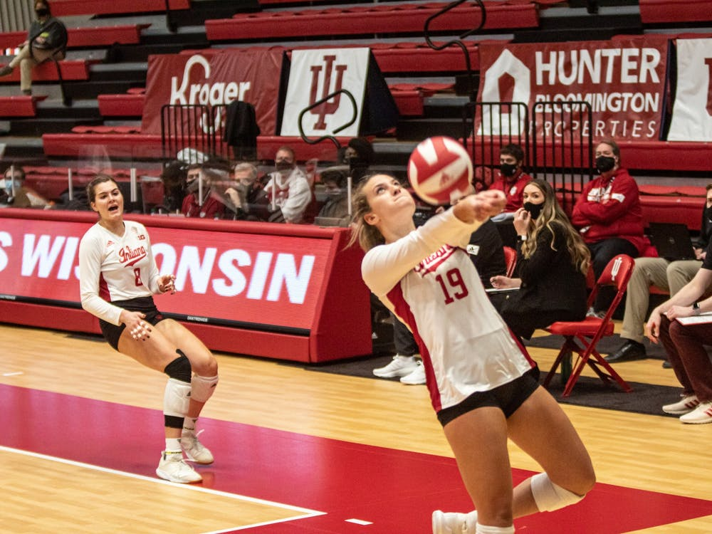 Sophomore outside hitter Ashley Zulauf hits the ball against Wisconsin on Saturday. The Hoosiers play No. 8 Penn State on Friday in University Park, Pennsylvania.