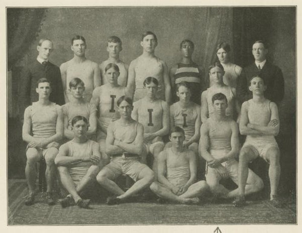 <p>A photo of the first track team in 1904 from IU Archives. The team tied for seventh at the Big Ten Outdoor Track and Field Championshipsin 1904.</p>