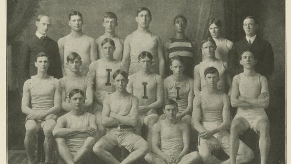 A photo of the first track team in 1904 from IU Archives. The team tied for seventh at the Big Ten Outdoor Track and Field Championshipsin 1904.