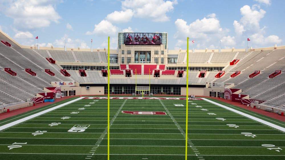 Pictured is the view of Memorial Stadium outside the Tobias Nutrition Center located on the second floor on the south end of the stadium. Staff and players from IU football, men's basketball and women's basketball were tested for COVID-19 in preparation for the practices to restart.