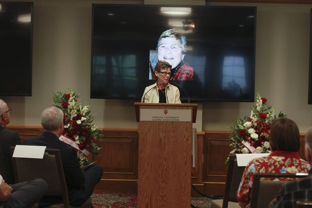 <p>Gayle Hart closes the ceremony of S. Kay Burrus on Oct. 5. Many memories were shared of Burrus's achievements.</p>