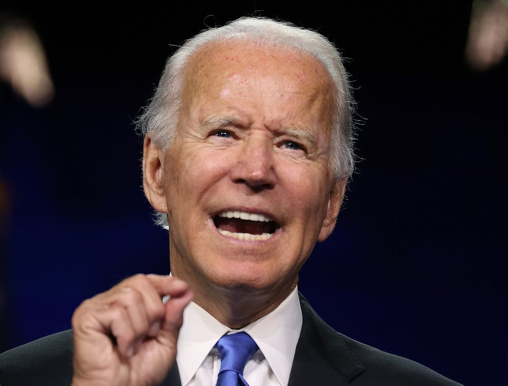 <p>Democratic presidential nominee Joe Biden speaks during the Democratic National Convention on Thursday at the Chase Center in Wilmington, Delaware. The Democratic convention and Republican convention are being conducted mostly virtually due to the coronavirus pandemic.</p>
