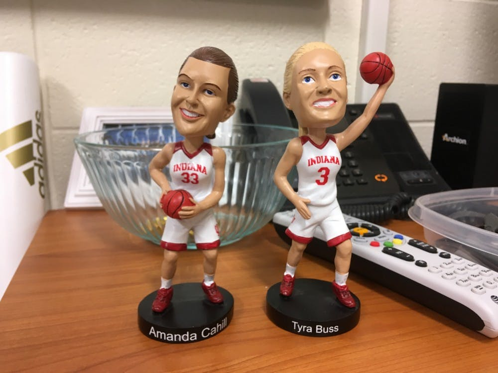 During senior day for the IU women's basketball game, fans could redeem vouchers or buy bobbleheads of seniors Amanda Cahill and Tyra Buss.