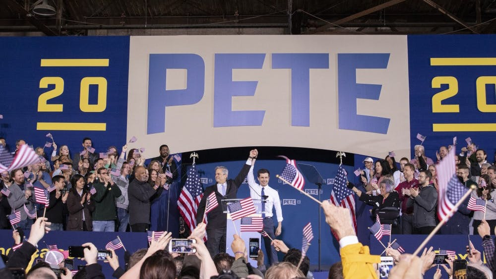 Steve Adler, mayor of Austin, Texas, introduces Pete Buttigieg at a rally April 14 in Studebaker Building 84 in South Bend, Indiana. Buttigieg announced his run for president of the United States in 2020.