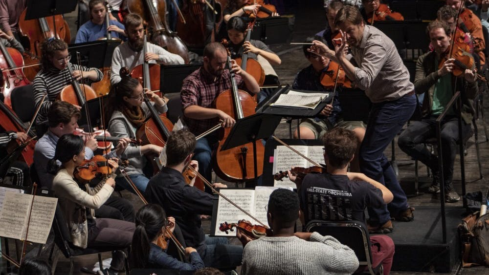 The IU Symphony Orchestra rehearses Oct. 14 at the Muisical Arts Center under the direction of Andrew Altenbach. The IU Symphony Orchestra has an upcoming performance Oct. 16 at 8 p.m. in the MAC.