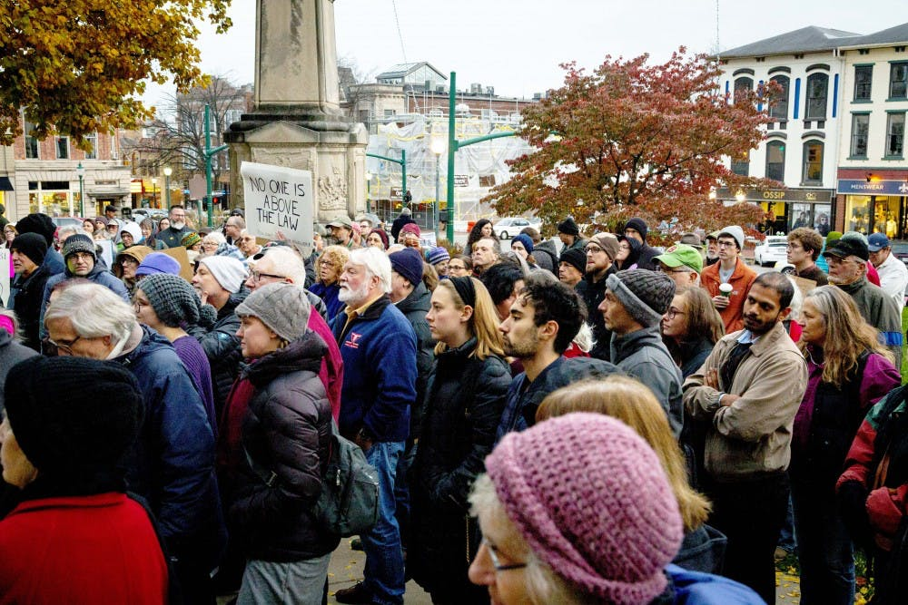 <p>Protesters listen to Attorney Shelly McBride speak Nov. 8 outside the Monroe County Courthouse during a protest against the firing of Attorney General Jeff Sessions. President Trump had been critical of Sessions after he recused himself from the Russia investigation in 2017.&nbsp;</p>