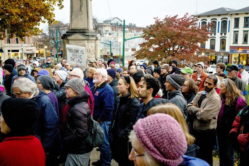 Protesters listen to Attorney Shelly McBride speak Nov. 8 outside the Monroe County Courthouse during a protest against the firing of Attorney General Jeff Sessions. President Trump had been critical of Sessions after he recused himself from the Russia investigation in 2017.