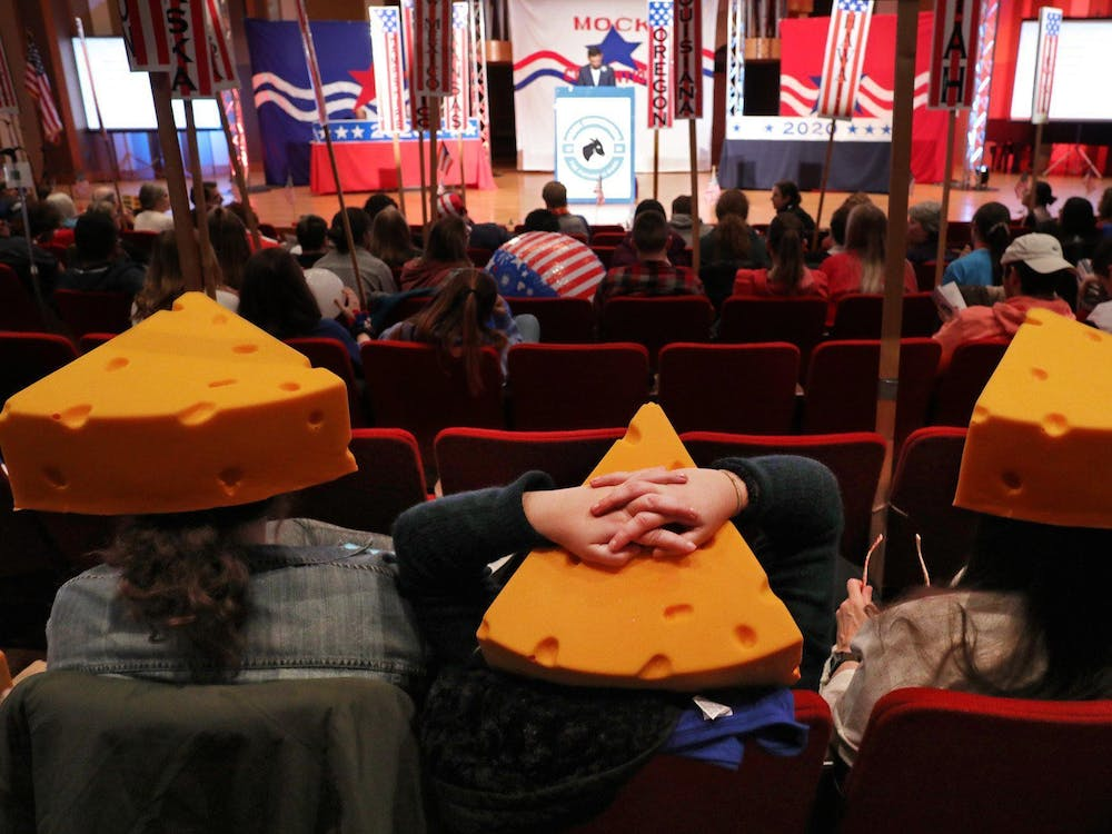 Delegates from Wisconsin listen Feb. 22 as the nomination process continues at Ohio Wesleyan University's Mock Presidential Convention.