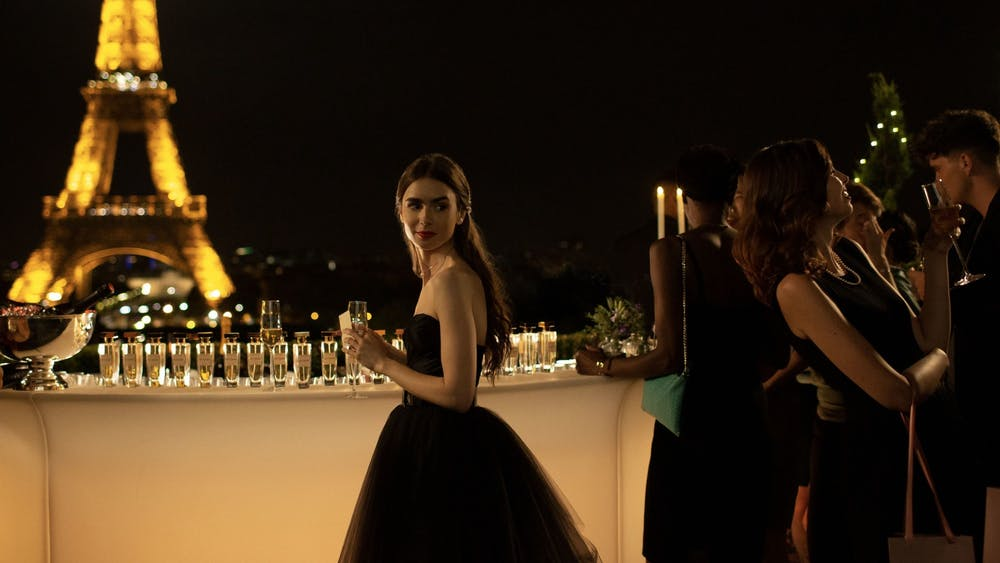 "Lily Collins, as Emily Cooper, performs in ""Emily in Paris."" The 2020 Netflix original series was nominated for a Golden Globe on Feb. 3."