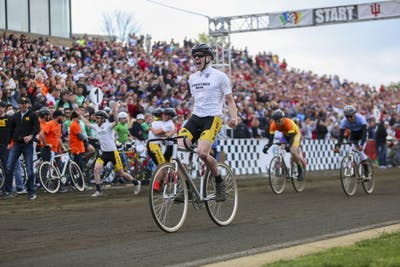 Junior Kevin Mangel crosses the finish line of the Men's 2017 Little 500 Bike Race.  The Black Key Bulls clinched their second Little 500 title at the Bill Armstrong Stadium Saturday.