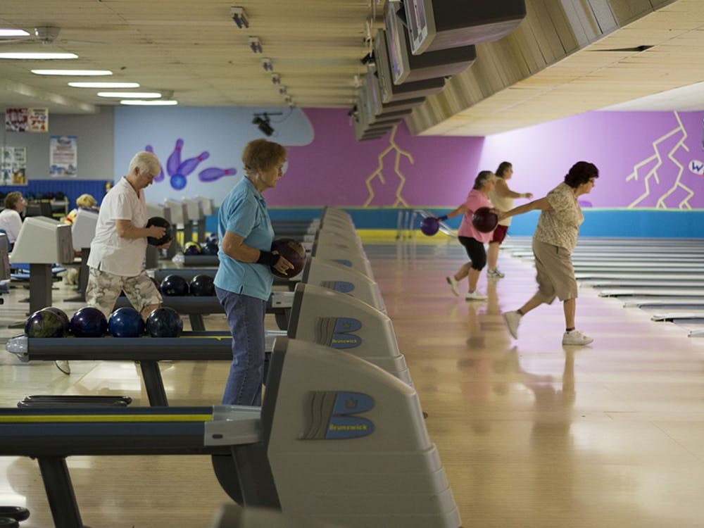 Linda H. prepares to get a strike at the weekly ladies bowling league. The league meets once a week at Classic Lanes.