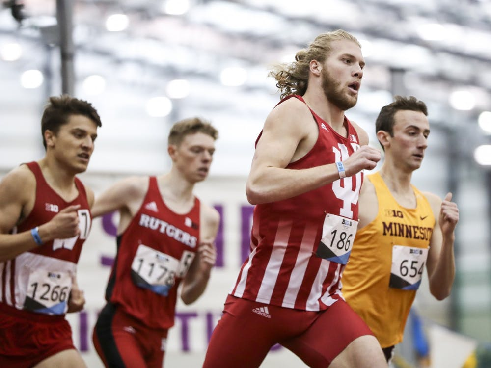 Junior distance runner Cooper Williams competes in the 800-meter preliminary race during the Big Ten Indoor Championships on Feb. 28-29 at the SPIRE Institute in Geneva, Ohio. Nine members of the men's track and field team and two members of the women's team were named All-Americans.
